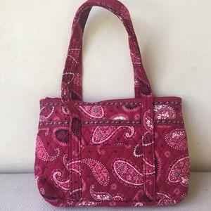 Vera Bradley red paisley cotton zip shoulder bag